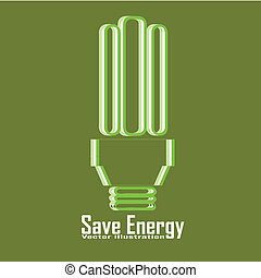 save energy - bulb with text save energy on green background