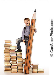 stage of books - A boy climbing the stairs of books with a...