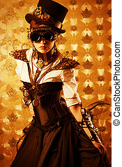 Victorian dress - Portrait of a beautiful steampunk woman...