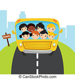 bus school on special background, vector illustration