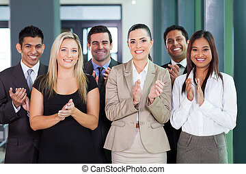 business group applauding - smiling business group...
