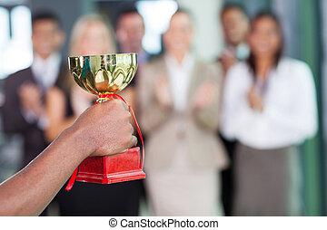 negócio, equipe, Ganhar, troféu