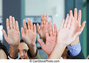 business team hands together - business team put hands...