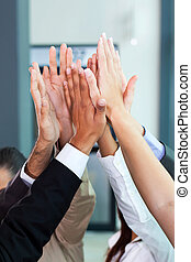 high five - business celebration for good teamwork with high...