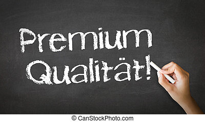 Premium Quality (In German) - A person drawing and pointing...