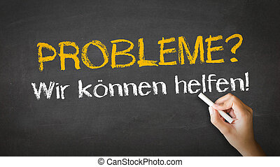 Problems we can help In German - A person drawing and...
