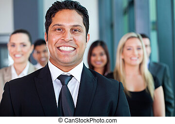 indian businessman with colleagues - cheerful indian...