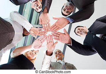 squadra, affari, insieme, mani