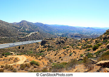 CA-118 highway in Simi Valley as seen from Rocky Peak Trail,...