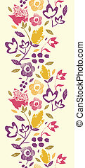 Painting Texture flowers vertical seamless pattern border -...