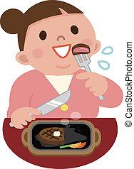 obeso, mujeres, comida, filete