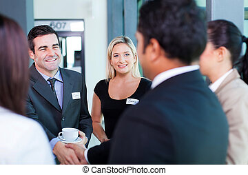 business conference - group of business people at business...