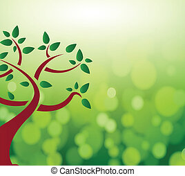Green tree leaves nature concept illustration design