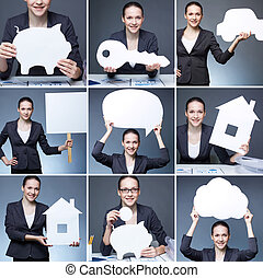 Business ideas - Collage of young businesswoman holding...