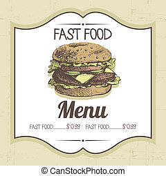 Vintage fast food background. Hand drawn illustration