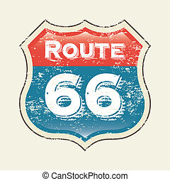 route 66 label over white background vector illustration