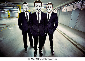 Under cover - Portrait of anonymous masked businessmen...