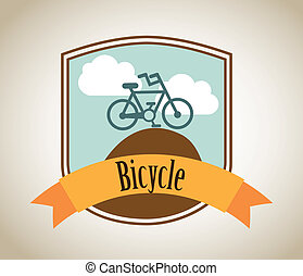 bicycle label over beige background vector illustration