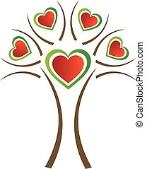 heart tree- colors of Italian flag - heart tree- colors of...