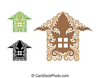 House Decoration Symbol - House drawing symbol with floral...