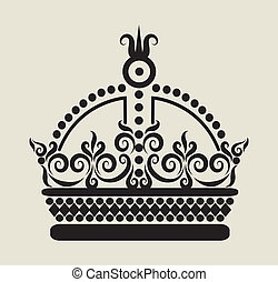 Crown Decoration 1 - Crown illustration with curl decorative...