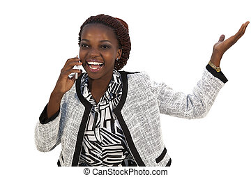 Young African woman on mobile phone against white