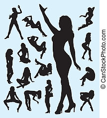 Sexy Girl Gesture Silhouettes - 15 girl action silhouettes...