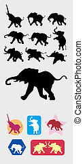 Elephant Silhouettes Symbol - 9 Elephant in action...