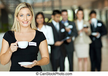 young businesswoman coffee break - attractive young...