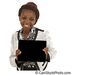 African Woman Holding a Blank black Sign against white...