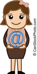 Holding an at sign - E-mail Concept