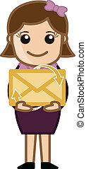 Girl Holding an E-mail Envelope