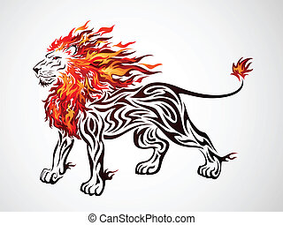 Flame Lion - Flame lion illustration
