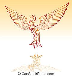 Burning phoenix tribal tattoo