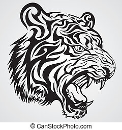 Tiger Head Tattoo - Tiger roar tribal tattoo style