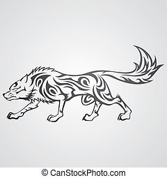 Tribal wolf - Wolf in tribal tattoo style