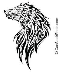 Tribal wolf head - Tribal tattoo wolf head