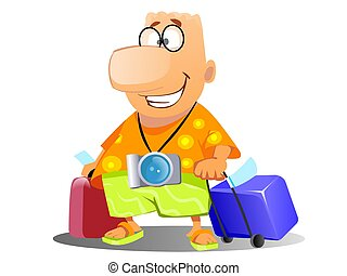 tourist on vacation - Illustration of a happy man with a...