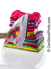 Arranged composition laundry on isolated background