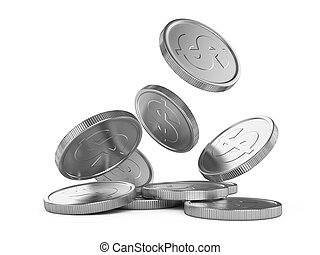 silver falling coins isolated on white background