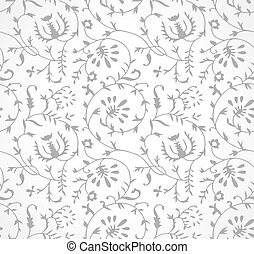 Seamless silver floral wallpaper