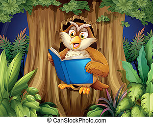 An owl reading a book at the tree - Illustration of an owl...