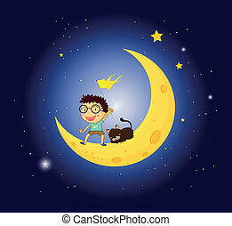 A boy and his pet at the moon - Illustration of a boy and...