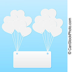 Background with balloons in the shape of heart and note paper.