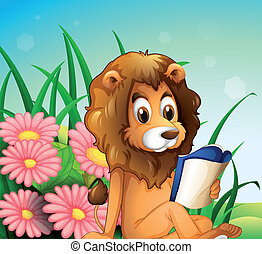 A lion reading a book at the garden - Illustration of a lion...
