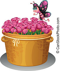 A basket of pink roses with a butterfly - Illustration of a...