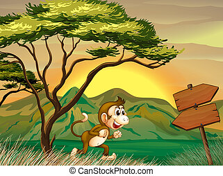 A monkey running with a wooden arrow board