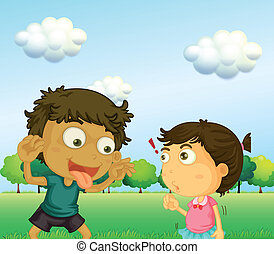 A boy annoying a little girl - Illustration of a boy...
