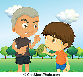 A boy scolding a kid with a money - Illustration of a boy...