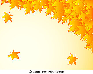 background in warm colors with yellow maple leaves Many...